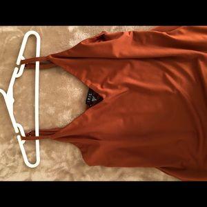 Beaded drape collar in red and iris
